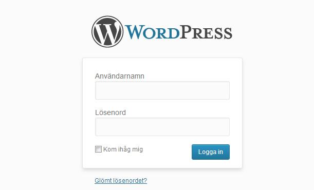 Wordpress inloggning
